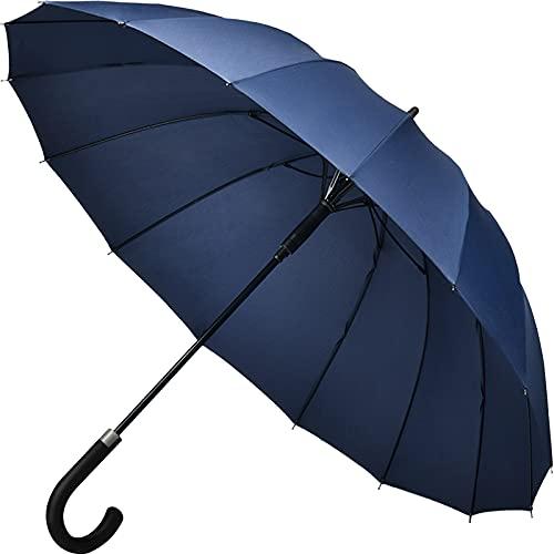 【Amazon限定ブランド】Muslish 傘 メンズ 16本骨 紳士傘 ジャンプ傘 大きい ワンタッチ 丈夫 テフロン加工 超撥水 梅雨対策 収納ポーチ付き1年保(ブルー)