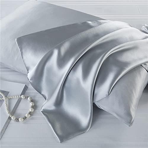 100% seda morera 19 Momme funda de almohada de seda de doble cara, funda de almohada de satén con cremallera oculta, para cabello y piel, 50 x 75 cm, gris plateado