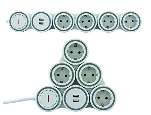 REV Ritter SupraFlex Steckdosenleiste 4-Fach mit beweglichen Steckdosen & USB | Überspannungsschutz | Stromverteiler | Mehrfachsteckdose | 2pol. Schalter | Anschlussleitung 1,4m | weiß