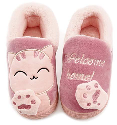 Vunavueya Zapatillas de Estar por Casa Niña Niño Zapatos Pantuflas Invierno Bebé Interior Caliente Peluche Forradas Slippers Rosa(Pink) 30/31 EU/210CN