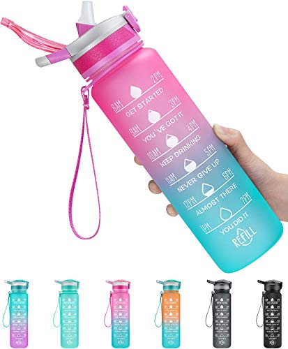 1000ml Sports Water Bottle with Motivational Time Marker & Straw, Leak-proof Drink Bottle with BPA Free Non-Toxic Tritan Material; 1-Click Open for Sports/Cycling/Camping (Pink Gradual Blue, 1000ml)