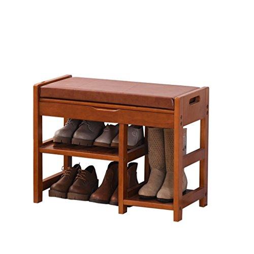 QARYYQ Europese Schoenen Bench Schoenen Opslag Hout Test Schoenen Kruk Moderne Minimalistische Schoenen Kruk Schoenrek (Kleur: Water honing kleur, Maat : 54 * 30 * 49CM)