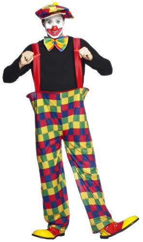 Smiffys 96312L Herren Clown Kostüm, Reifhose, Hut und Fliege, Größe: L, 96312