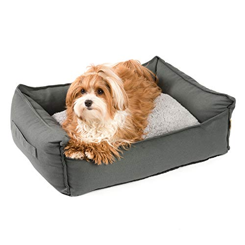 JAMAXX orthopädisches Hundebett - Memory Schaumstoff, Waschbar Wendekissen - Hundekissen mit Lammfell - Hundekorb Hundekörbchen Abnehmbarem Bezug Reissverschluss, PDB2008 (M) 65x50 grau
