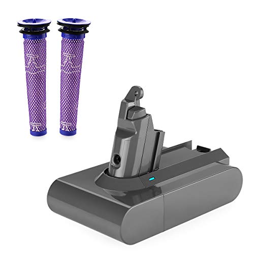 Energup 3800mAh Replacement for Dyson V6 Battery 595 650 770 880 SV04 DC58 DC59 DC61 DC62 Animal DC72 DC74 Series Handheld Replacement Dyson Battery (with 2 Pack Replacement Dyson Filter)