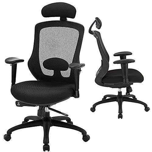 High Back Office Chair, Ergonomic Mesh Desk Chairs with Adjustable Headrest Armrest Lumbar Support, Tilting & Lock Task Chair Modern Comfortable Swivel Executive Chair