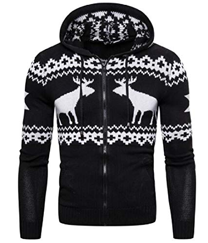 SHOWNO Men's Hooded Winter Knitwear Fawn Print Christmas Slim Sweater Cardigan Black XL
