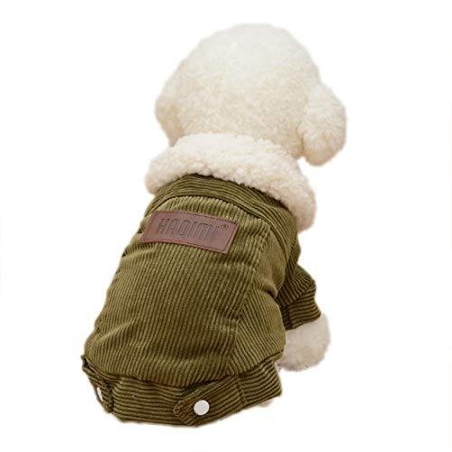 Hondenmantel winterjas voor kleine middelgrote honden katten fleece jack puppy coat dikke corduroy winter kleding warme huisdier wollen mantel, Medium, groen