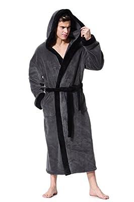 OUFANG Men's Hooded Bathrobe in 2 Colored Soft Spa Kimono Shawl Collar Hooded Long Robe Unisex