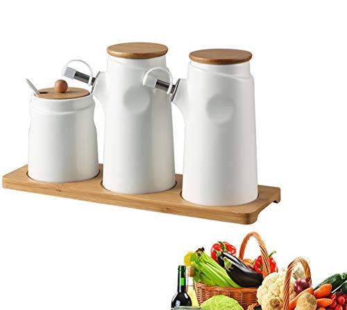 MAI&BAO Öl Flasche Keramik Öl Essig Spender Ölflasche küche Ölbehälter Gewürzpanzer Auslaufsicher Ausgießer Staubdicht Sauce Cruet Weiß, 400 ml,d
