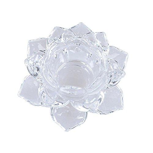 透明 ガラス 蝋燭立て 蓮の花 形 ろうそく立て キャンドル 容器 燭台