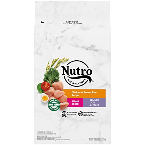 NUTRO NATURAL CHOICE Small Breed Senior Dry Dog Food, Chicken & Brown Rice Recipe Dog Kibble, 5 lb. Bag