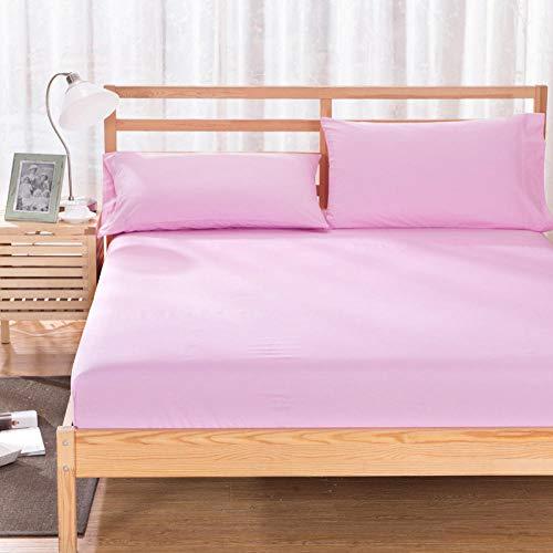 HPPSLT colchón Acolchado, antialérgico antiácaros, Funda Antideslizante para sábanas Rosa_135 * 200cm