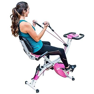 PLENY Premium Foldable Recumbent Exercise Bike with Adjustable Resistance Bands For Arm & Leg, Backrest and Back Handle and 3 Levels Adjustable Frame (Pink)