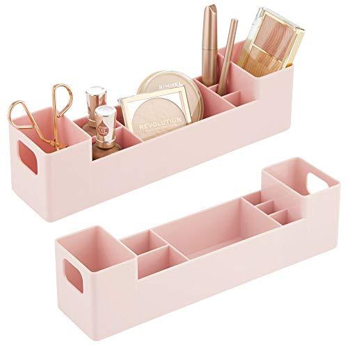 mDesign 2er-Set Medikamentenbox mit Griffen fürs Badregal – stapelbare Badablage mit 7 Fächern für Pflaster oder ätherische Öle – Medizinschrank aus BPA-freiem Kunststoff – rosa
