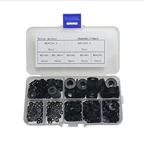 CROSYO 350 unids Lavadora de plástico Negro M2-M8 / PCB Nylon Lavadora de plástico Banufado Kit de Surtido Conjunto con Caja de plástico Junta Ringfofreting Hardware