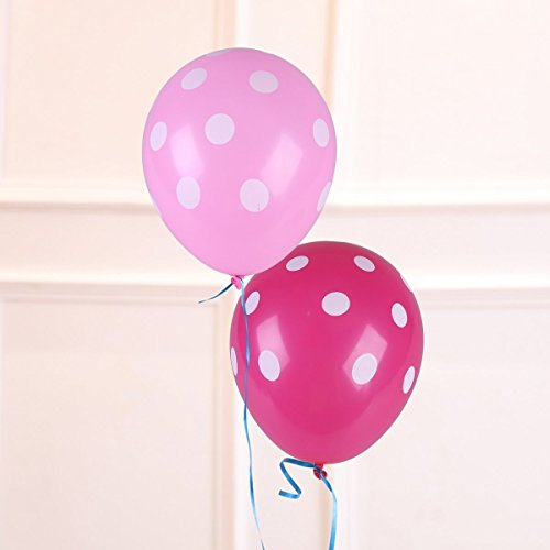 NUOLUX 50 Pcs 12 Inch Polka Dot Latex Balloon Wedding Birthday Party Decoration (Rose Red Pink)