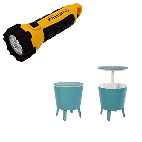 Toucan City LED Flashlight and Keter Cool Bar Teal Resin Outdoor Accent Table and Cooler in One 233630