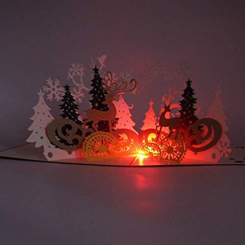 Tafellamp, tafellamp, leeslamp, kerstverlichting, LED, muziek, 3D, stereo, wenskaart, ansichtkaart, bos, hert, papier, uitgesneden, kunsthandwerk, sculptuur, party, Kerstmis, uitnodiging