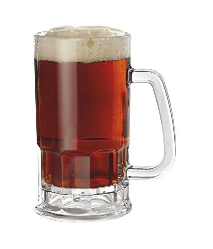 GET Shatter-Resistant Plastic Beer Mug / Stein, 20 Ounce, BPA Free, 00085-1-SAN-CL-EC (Set of 4)