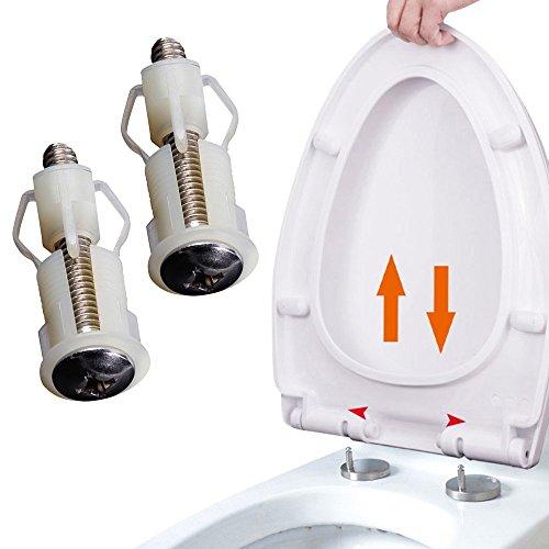 Bisagras de fijación para asiento de inodoro, tornillos WC, fácil instalación, paquete de 2