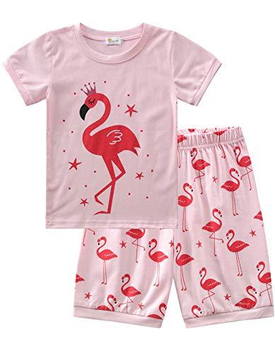 EULLA Pijama de verano de dos piezas para niña, camiseta de manga corta, ropa de dormir, algodón, 92, 98, 104, 110, 116, 122 2# Flamenco 7 años