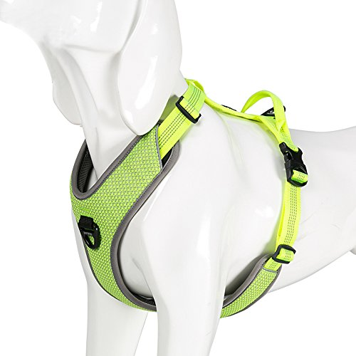 Chai's Choice Best New! Outdoor Adventure II Dog Harness. 3M Reflective Vest with Handle and 2 Leash Attachments. Please Use Sizing Chart at Left Before Ordering. (Medium, Neon Yellow)