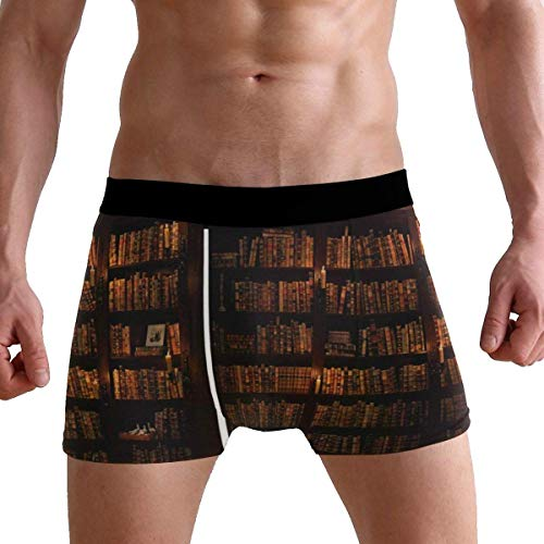 LCSUN Secret Door Bookshelf Bookworm Boxer Briefs Mens Underpants Underwear Boxer Shorts for Mens and Boys