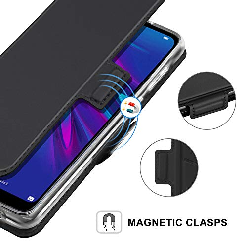 YATWIN Handyhülle für Huawei Y6 2019 Hülle Premium Leder Flip Case Schutzhülle für Huawei Y6 2019 Handytasche Honor 8A, Blau
