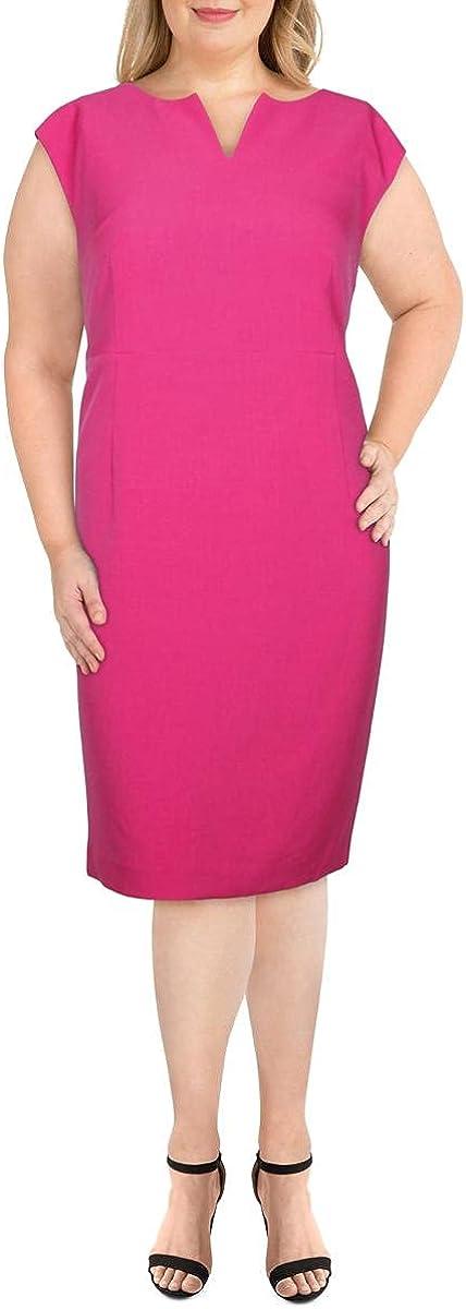 Kasper Womens Plus Split Neck Stretch Midi Dress