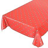 ANRO Wachstuchtischdecke Wachstuch Wachstischdecke Tischdecke Punkte Gepunktet Dots Tupfen Rot 200 x 140cm