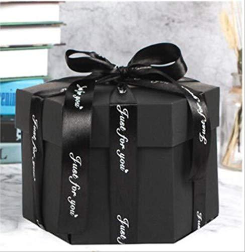 Geschenkdoos BLTLYX zeshoek verrassing explosie doos DIY handgemaakte plakboek fotoalbum bruiloft geschenkdoos voor valentijn kerst geschenkdozen 8.9 * 12.7cm zwart