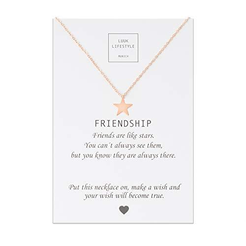 LUUK LIFESTYLE Gioielli donna, gift card, collana con ciondolo a forma di stella e biglietto regalo...