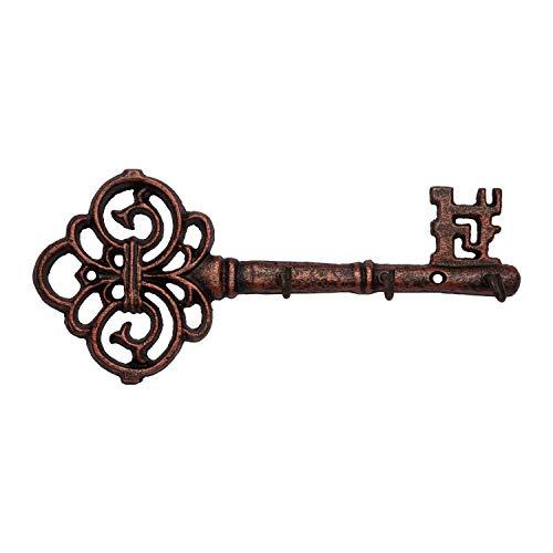 Comfify Dekorativer Schlüsselanhänger aus Gusseisen zur Wandmontage -Vintage Schlüssel mit 3 Haken - Wandmontage - Rustikaler Aufhänger aus Gusseisen - Kupfer - 10,8 x 4,7- mit Schrauben und Dübeln