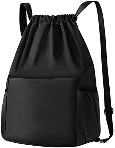 Drawstring Backpack Nylon Gym Sack Sport Sackpack with Shoes Compartment by VBG VBIGER Black product image