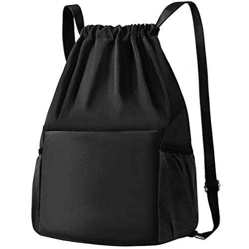 Drawstring Backpack Nylon Gym Sack Sport Sackpack with Shoes Compartment by VBG VBIGER, Black