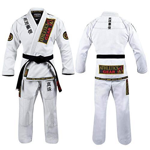 Athletics Gear BJJ Gi Brazilian Jiu Jitsu Gi Uniform Anzüge von Athletics Gear, 100% Baumwolle, Perlengewebe mit Patches, geringes Gewicht für Kinder, Männer und Frauen, weiß, A1 (160cm - 169cm)
