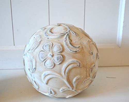 DEKO Kugel Keramik Dekokugel ca. 19cm Creme Shabby rustikal Ornament Blume Gartendeko Tischdeko Pflanzdeko Beetdeko