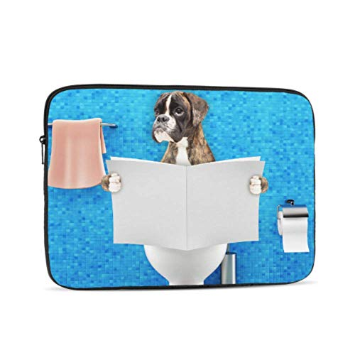 Mac Computer Case Boxer Dog Sitting On Toilet Seat MacBook 13 Inch Case Multi-Color & Size Choices10/12/13/15/17 Inch Computer Tablet Briefcase Carrying Bag