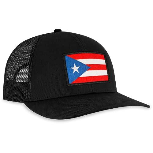 Puerto Rico Flag Hat - Trucker Mesh Snapback Baseball Cap - Black