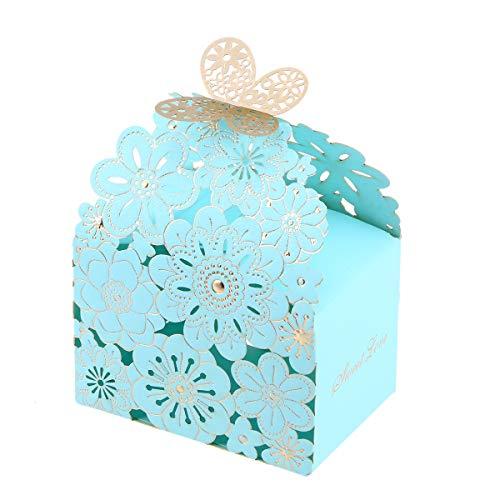BESTOYARD 20 Stks Bruiloft Snoep Doos Bloem Vlinder Patroon Gunst Boxen Hollow Out Craft Papier Doos Craft Papier Snoep Houders Geschenkdoos Snoep Snoepjes Voor Geschenken Feest(Blauw Grote Grootte)