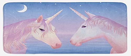 ABAKUHAUS Cheval Tapis de Cuisine, 2 Akhal Teke Unicorns, Tapis Décoratif en Peluche avec Support Antidérapant, 48 cm x 120 cm, Lilas et Fard à Joues