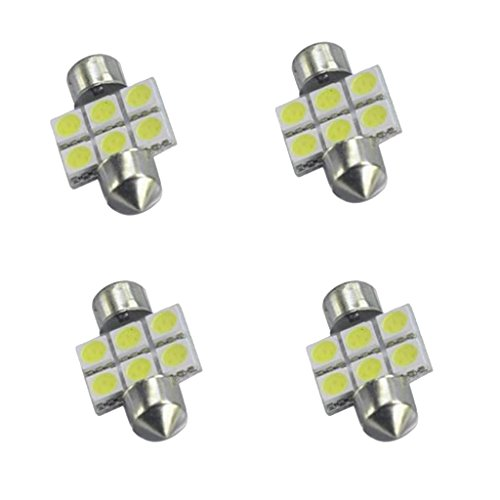 kesoto 4 Piezas Blanco 31MM 5050 6SMD Festoon Dome Interior LED Bombillas DE3175 3021