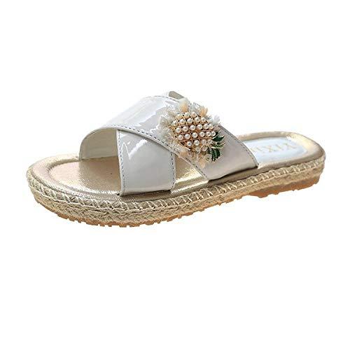 lxylllzs Mujer de DedoSandalias,Las Mujeres Usan Sandalias y Zapatillas afuera en Verano, Chanclas de Flores de Moda Salvaje-Blanco Crema_38,Chancletas Cómodas Zapatos de,