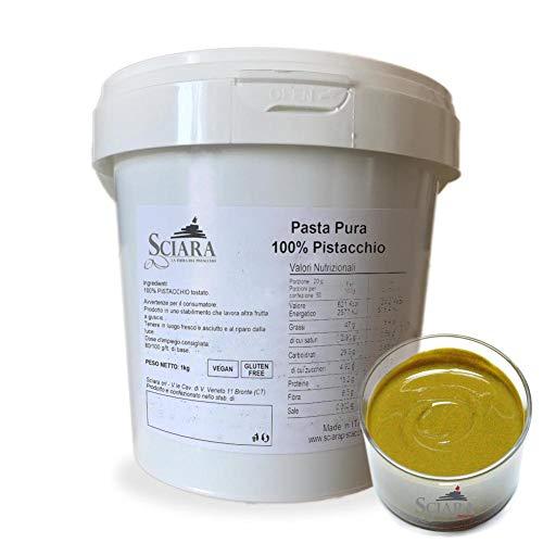 SCIARA - Crema 100% Pistacchio. Confezione da 1 KG - Crema di Pistacchio al naturale e genuina. Senza zucchero, senza lattosio, senza glutine. Pasta pura di pistacchio.