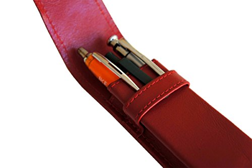 Leder Etui für 3 Füller Kugelschreiber Bleistift, Schreibgeräte ROT Echt Leder !