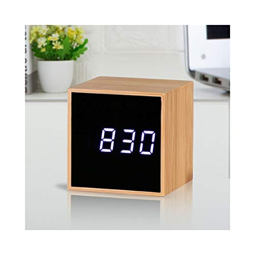 Wekker met USB Charger Battery Operated Electric Dimbare display Silent Bureau Slaapkamer Nachtlampjes Bookshelf Houten Digital Home Kitchen Stil Ontwerp (Color : A, Size : 6cm*6cm*6cm)