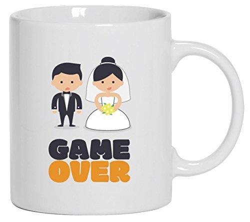 Junggesellenabschieds JGA Hochzeit Kaffeetasse Kaffeebecher Married Couple Game Over, Größe: onesize,Weiß