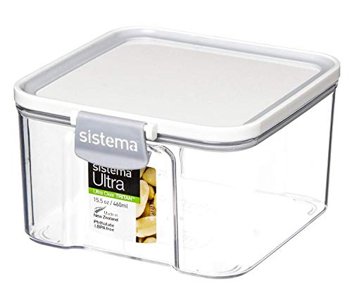 Sistema Ultra Collection Square Food Storage Container, 15.5 oz./0.5 L, Clear/Black
