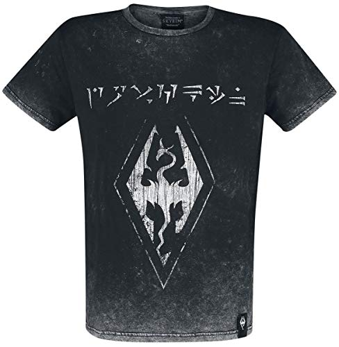 The Elder Scrolls V - Skyrim - Dovahkiin Logo Uomo T-Shirt Nero S 100% Cotone Regular